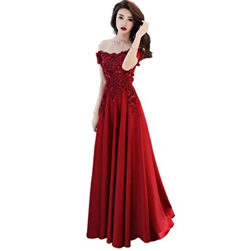 BINGQZ Cocktailkleider Appliques Blumen Perlen Satin Weinrot Abendkleider Lang Plus Size Elegant Off The Shoulder Verlobungskleid