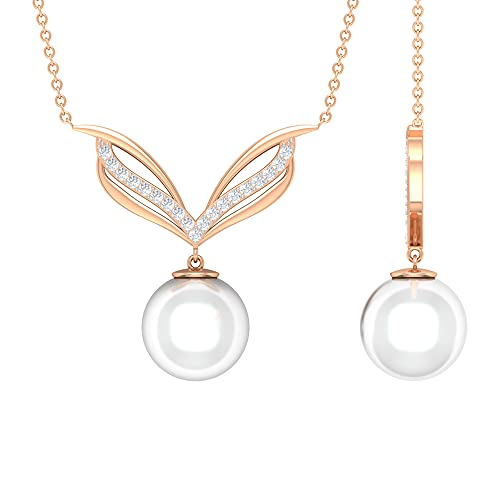 8.25 CT Freshwater Pearl Drop Cocktail Necklace with Diamond Accents (10 MM Round Shape Freshwater Pearl), 14K Rose Gold, With Chain