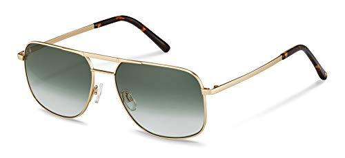 Rodenstock Herren Originals Sun R1431 leichte Sonnenbrille im Retro-Stil, Pilotenbrille mit Edelstahlgestell, Light gold, havana, Large