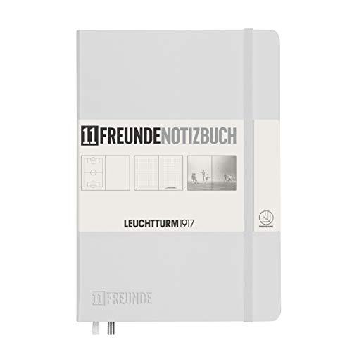 LEUCHTTURM1917 359580 Notizbuch Medium (A5), Hardcover, 253 nummerierte Seiten, weiß, 11FREUNDE Blanko u. Dotted