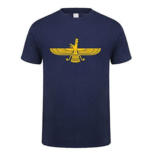 Mele & Co Farvahar Zarathustra Iran Persien Symbol Tshirts für Männer iranischer persischer zoroastrischen Tops Kurzarm Baumwolle Mans Tshirts T,Marine,L