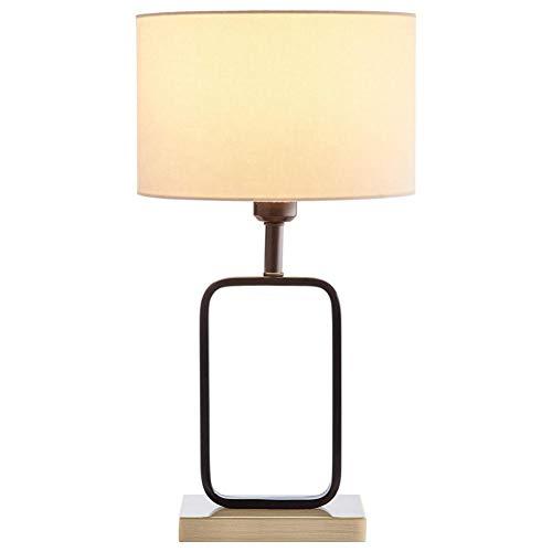 JFHGNJ tafellamp rechthoekige tafellamp van messing fineer bedlampje met ronde stoffen kap