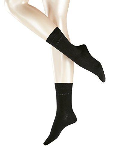 ESPRIT Damen Socken Uni 2-Pack - 80% Baumwolle, 2 Paar, Schwarz (Black 3000), Größe: 35-38