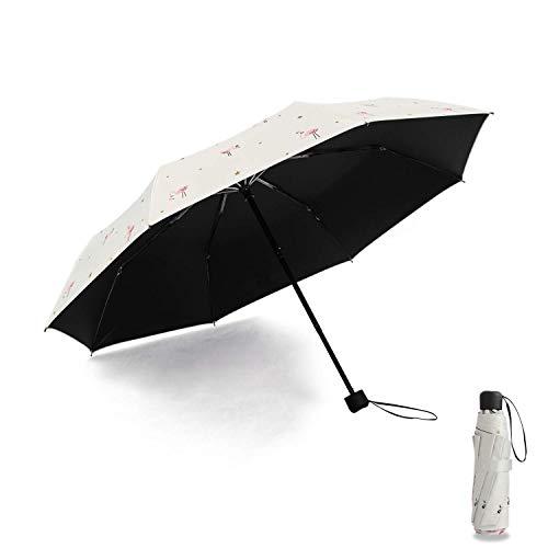Meiyijia Paraguas Plegable,Paraguas Ultraligero, (99% UV Resistencia &100% Impermeable) Doble-Uso Paraguas del Sol/Lluvia, Conveniente para Viajes-Beige Expandir 98cm