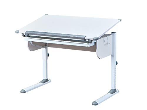 Inter Link Schreibtisch Schülerschreibtisch ergonomisch mit Schublade aus Metall und MDF in Weiss und Grau, 110 x 68 x 55/78 cm