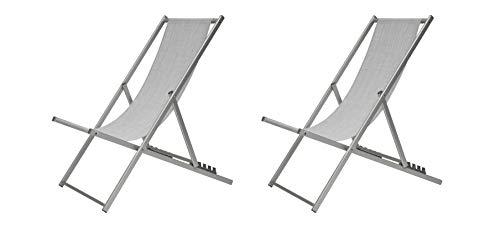 sdraio da giardino grigio XONE Coppia Sdraio 5 Posizioni Grigio Melange | 2 Sdraio Spiaggia Giardino in Alluminio e textilene