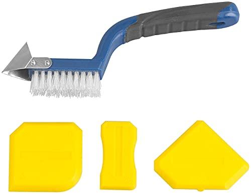AGT Fugenkratzer: 5in1-Fugenwerkzeug-Set mit Fugenmesser, Fugenbürste, 3 Fugenglättern (Silikonfugenentferner)