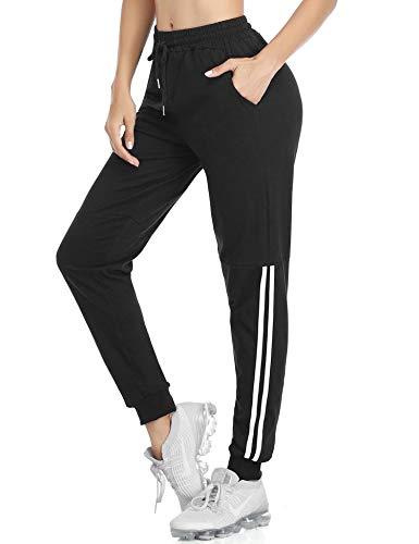 Doaraha Pantalones Deportivos Mujer 100% Algodón Pantalones Chandal de Raya Pantalones Jogger para Running,Fitness,Yoga(Negro)