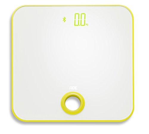 ADE Báscula de baño digital BE1614 FITvigo. Electronica con excelente App. gratuita. Obtenga peso exacto de hasta 180 Kg indice de masa IMC. Bluetooth. Incluye baterías. Color Blanco y Amarill