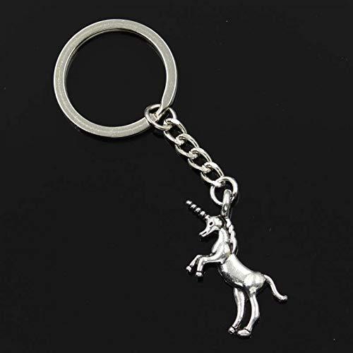 N/ A ZHTTCD mode mannen 30mm sleutelhanger DIY metalen ketting vintage eenhoorn 35x15mm zilveren hanger Gift