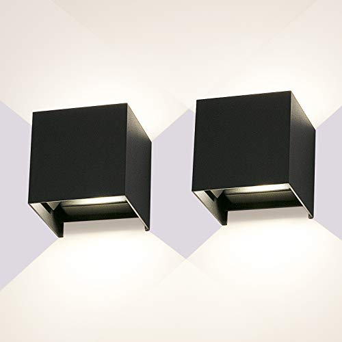 LEDMO 2 Piezas 12W Apliques de Pared Interior Exterior,Aplique Pared Exterior Luz natural 4000K Aliques Pared LED Ángulo de Haz Ajustable Impermeable IP65