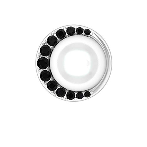 6 CT 7 MM Solitaire Pearl Earring, HI-SI 1/4 CT Black Diamond Stud Earring, Art Deco Wedding Earring, Antique Bridal Earring, Anniversary Earring,18K White Gold, Single