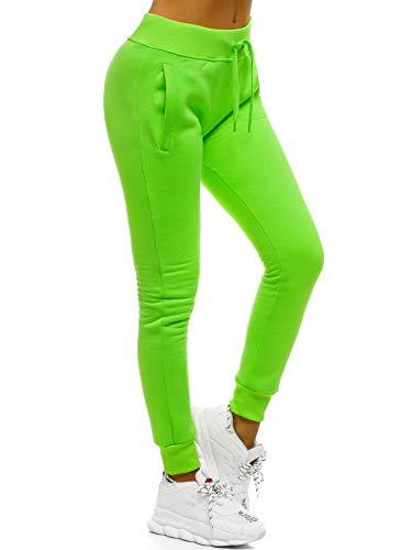 OZONEE Damen Jogginghose Hose Trainingshose Sporthose Freizeithose Motiv Damenhose Fitnesshose Sweatpants Sweathose Fußballhose Joggpants JS/CK01/31 GRÜN-NEON XL