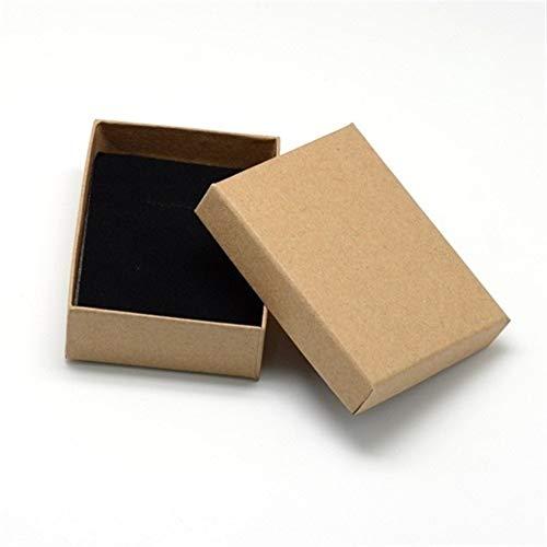 Joyería 12pcs de cartón caja de regalo conjunto de anillo pulseras regalo pendiente del collar de cajas de embalaje con esponja dentro del rectángulo gift (Color : Tan 9x7x3cm)