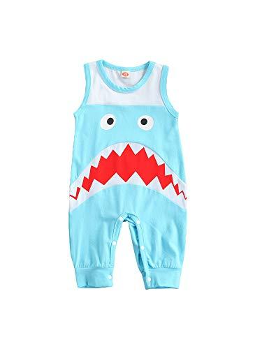 KILUS Strampler für Neugeborene, Babys, Jungen, modisch, ärmellos, Cartoon-Hai, für Kinder, Jungen, 0–18 Monate Gr. 74, blau