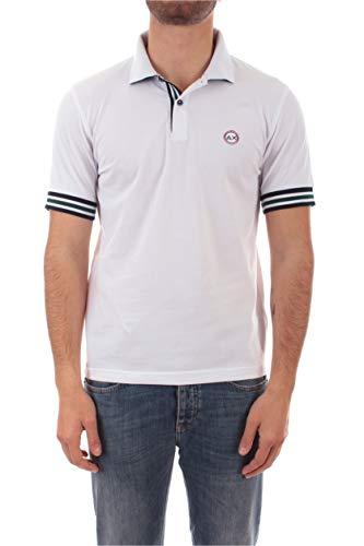 SUN 68 Polo Stripes ON Front Placket & Cuff da Uomo Bianco,A30110