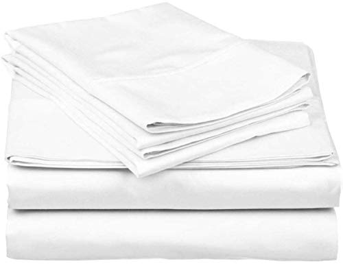 SOL Organics Hotel Luxury 600 Thread Count 100% Organic Cotton 4-Piece Bed Sheet Set Fits Mattress Upto 16'' Deep Pocket Sateen Weave, Breathable Soft Cotton (California King 72x84, White Solid)