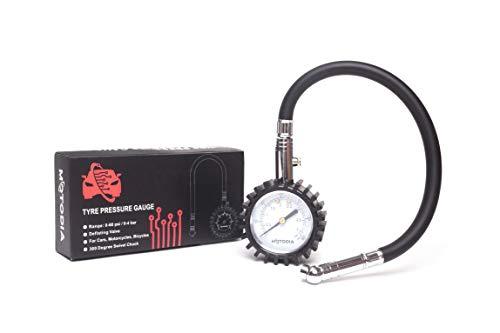 MotoDia MD4 Manómetro Analógico para Neumáticos con Extensión
