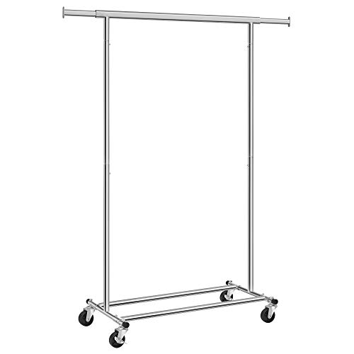 SONGMICS Heavy Duty Clothes Rack 90 kg Load with Wheels Extendable Collapsible Industrial Garment Rack, Chrome HSR13S
