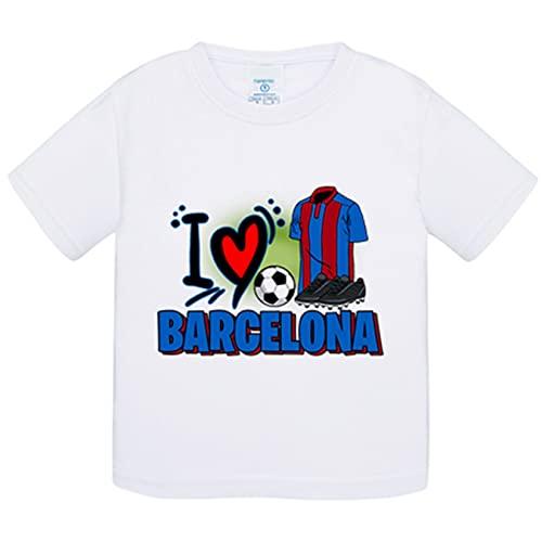 Camiseta bebé para enamorado de su equipo de fútbol de Barcelona - Blanco, 1 año