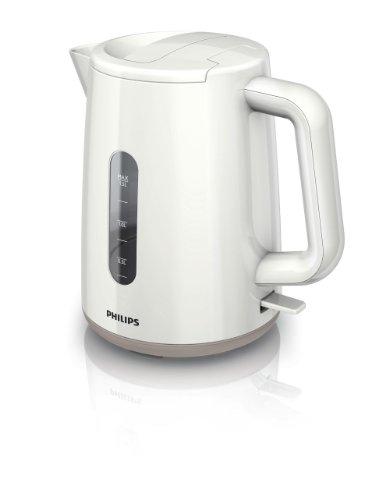 Philips HD9309/00 Bouilloire Daily Blanc/Beige, 2400 W, 1,5 L, Fond Plat, Socle 360°, Double Niveau deau