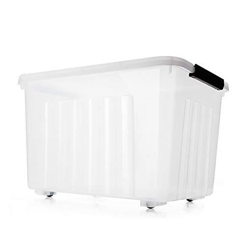 Coffres de Rangement Transparents/Plastique PP de qualité/avec Couvercle scellé Grand Grand Boucle de poignée de conteneur empilable Forte Boucle Snug Fit/Humidité et poussière
