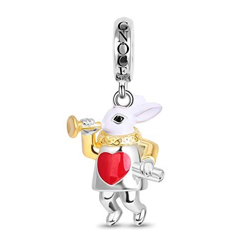 GNOCE Sr. Conejo Blanco Charms Colgante De Plata Esterlina Conejo Tocando La Trompeta Charm Beads Se Adapta a La Pulsera/Collar Charm Para Mujeres Niñas