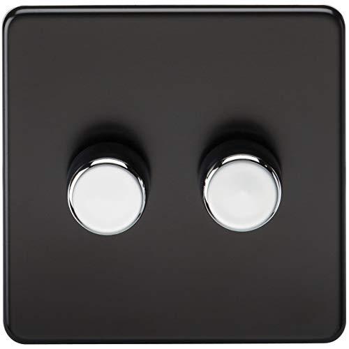 Knightsbridge schakelaar stopcontacten Dimmer 2G mat zwart