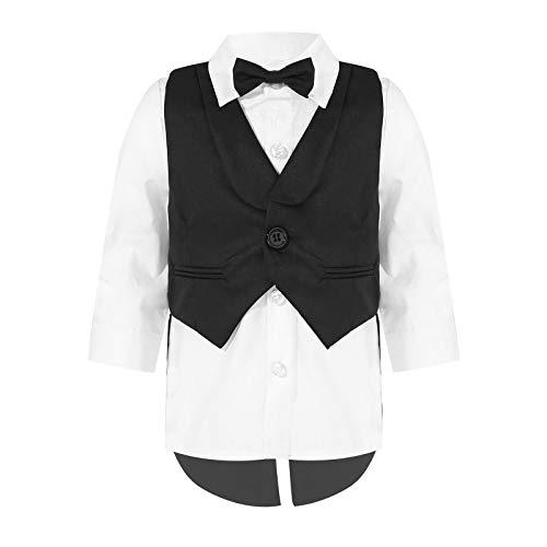 Agoky Baby Jungen Smoking Schwanz Anzug 3 Stück Langarm Kentkragen Hemd Mit Schleife Anzugweste Hochzeit Party Taufe Outfit Festlich Schwarz 50-56