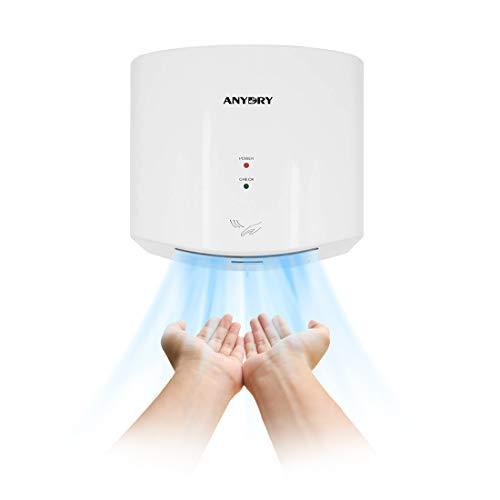 anydry®AD2630S Kompakter Händetrockner,Automatischer Elektrischer Händetrockner für Wandmontage,Für Gewerbliche oder Private Zwecke,Händetrockner für Toiletten.1400W.(Weiß)