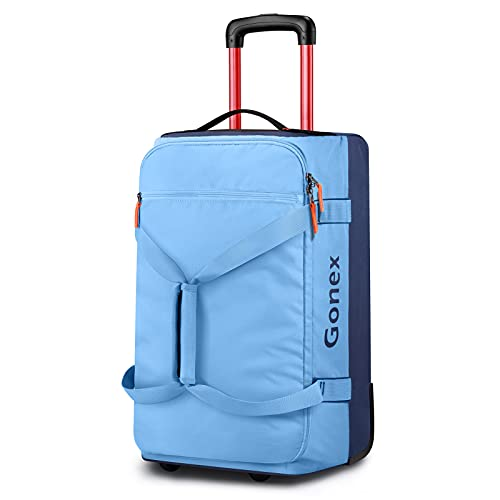 Gonex Rolling Duffle Bag with Wheels, 50L Travel Carry On Wheeled Duffel Luggage with Rollers 22 Inch, Navy Blue