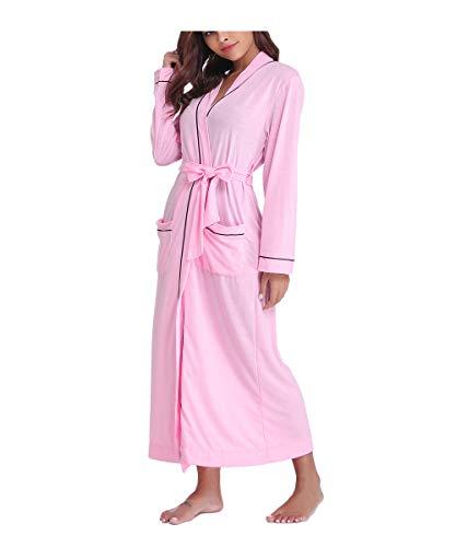 Sykooria Femmes Peignoirs de Bain en Tricot Coton Casual l'hôtel Spa Sauna Vêtements de Nuit avec 2 Poches Manches Longues, Rose, XXL