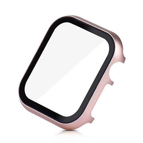 DLCYMY Funda Protectora de Pantalla para Apple Watch SE 40mm 44mm 38mm 42mm Serie de Cubierta de Metal 6 5 4 3 Parachoques con cáscara de película de Vidrio Templado 3D