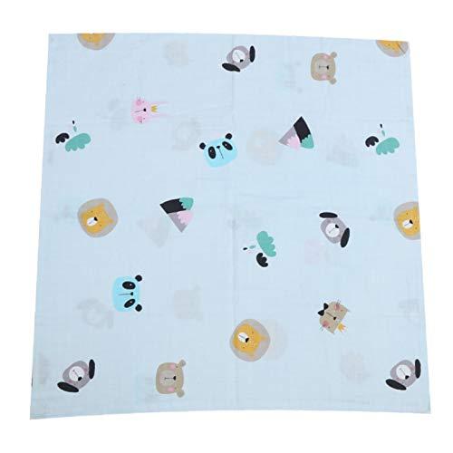 Toalla infantil de tela de algodón, toallas de baño, para mantener al bebé seco y cálido para niños y bebés(Blue small animal head, Blanket 75 * 75)