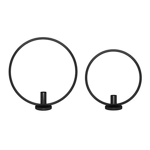 Baffect Saison Kerzenhalter Set 2, Eisen Kerzenlicht Halter Nordischen Stil kerzenständer Hochzeit tischdekoration für Kaffee Bar Party Hochzeitskerze, Schwarz