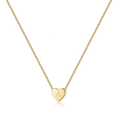 PAERAPAK A Initial Necklaces for Teen Girls - Dainty 14K Gold Filled Heart Letter Necklace Initial Necklace for Kids Tiny Alphabet Heart Initial Pendant Necklace for Women