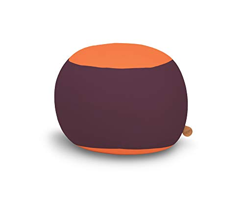 Ergonomischer Kindersitzsack Stanley, Sitzsack von Terapy, Aubergine / Oranje, Für drinnen und draußen, 70cm x 70cm x 60cm, 320 Liter, Mit EPS-Granulat, Aus samtig weicher Baumwolle