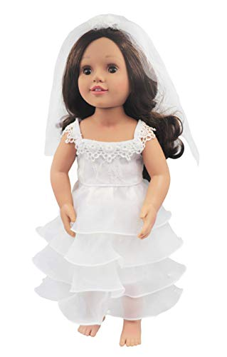 HWD Girls Doll Clothes Outfits and Accessories , Princess Costume , Bride Wedding Dresses , Party Gown Dress for American 18 inch Dolls