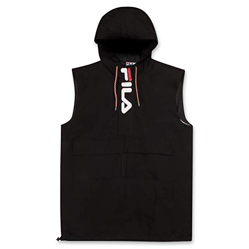 Fila Big and Tall Windbreaker Jackets for Men - Sleeveless Anorak Hoodies for Men Black XLT