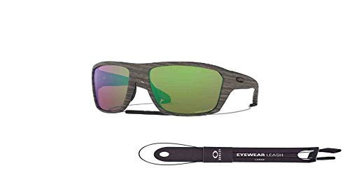 Split Shot OO9416 941617 64MM Woodgrain/Prizm Shallow Water Polarized Rectangle Sunglasses for Men +BUNDLE with Oakley Accessory Leash Kit