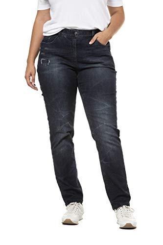 Ulla Popken Damen Zipperdetail, MIA Straight Jeans, Blau (Dark Denim 93), (Herstellergröße: 42)
