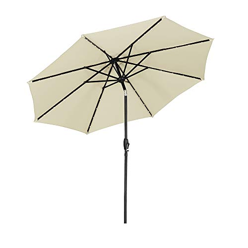 Ainfox 9ft Solar Patio Umbrella with LED Light, Steel Umbrella Ribs Waterproof Prevent Bask in for Garden, Indoor, Outdoor Use without Base (Beige)