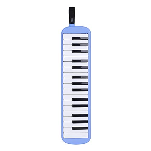 32 Key Melodica Instrument with Mouthpieces Tube Set, Wipe Cloth, Carrying Bag, Blue Pianica Melodica Piano Style with ABS Keyboard Prefect for Kids Adults Beginners