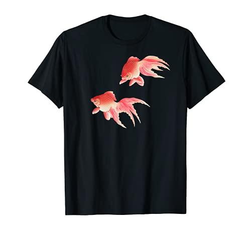 Vintage Japonés Ukiyo-e Dibujo de Goldfish Camiseta