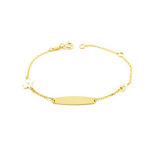 Pulsera Esclava Oro niña con flor y perla 4 mm (9kts)