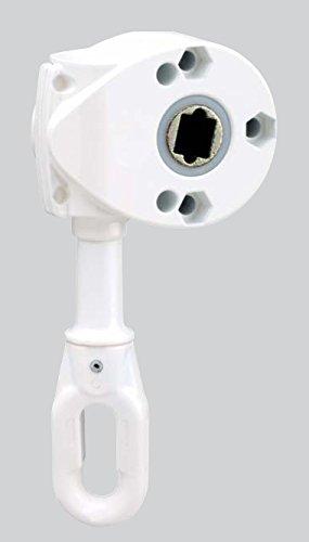 Schneckengetriebe, Markisengetriebe 9:1, Farbe Weiß, Ösenlänge 68mm, 16Nm