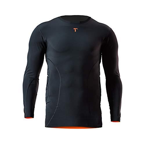 T1TAN Protektionsshirt 3/4 Arm - Torwart Protection Shirt - Unterziehshirt Torhüter - Compression Sleeve mit Polsterung Gr. L