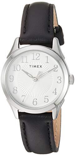 Timex Women's TW2T66600 Briarwood 28mm Black/Silver Genuine Leather Strap Watch