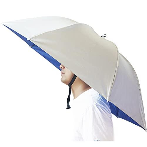 Umbrella Hat, Bocamoty 37 inch Fishing Umbrella Hat Hands Free Foldable UV Protection Umbrella Cap Adjustable Headwear for Fishing Golf Camping Beach Gardening Sunshade Outdoor