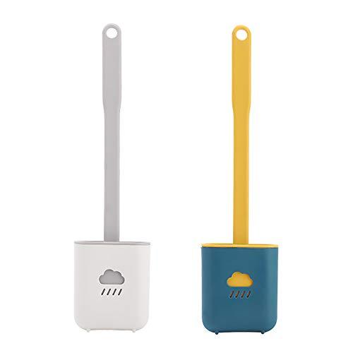 Escobillas WC, 2 Piezas Escobilla de Baño Silicona Escobilla y Soporte de Inodoro Hangable Kit de Cepillo para Inodoro (Azul y Gris)